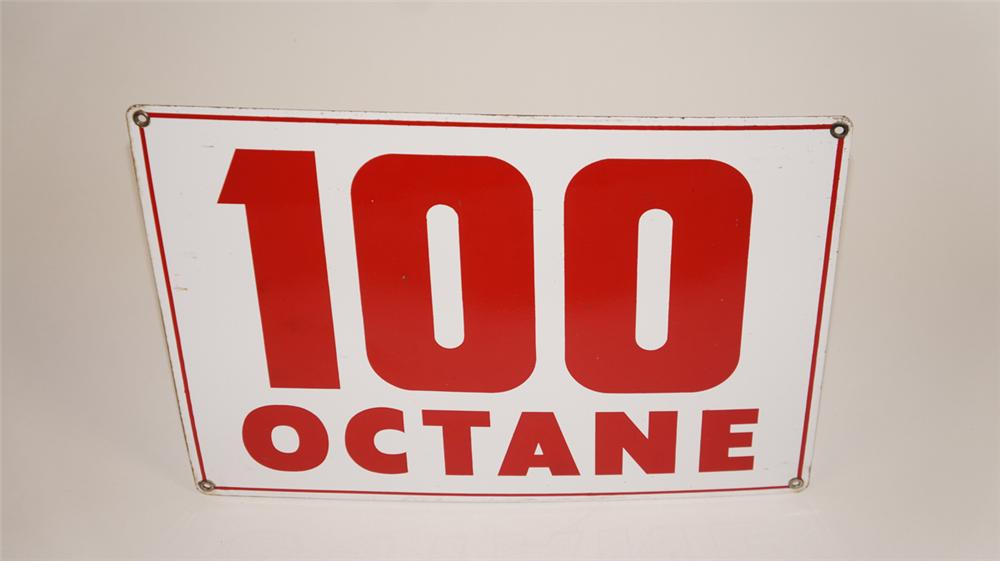 """Very cool late 1950's-early 60's """"100 Octane"""" over-sized singe-sided porcelain gas pump plate sign. - Front 3/4 - 177726"""