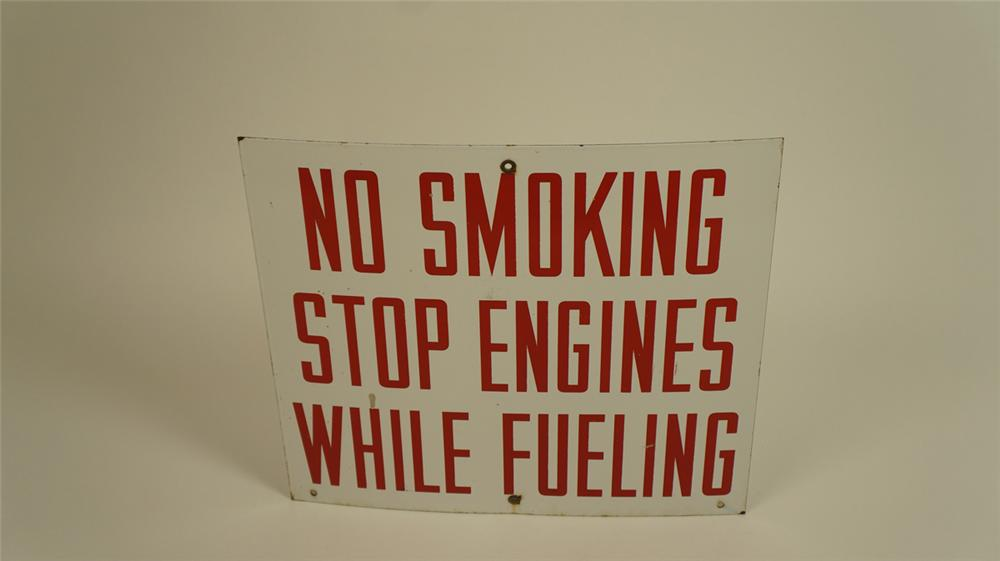 """1940's-50's """"No Smoking - Stop Engines While Fueling"""" single-sided porcelain service station fuel island sign. - Front 3/4 - 177729"""