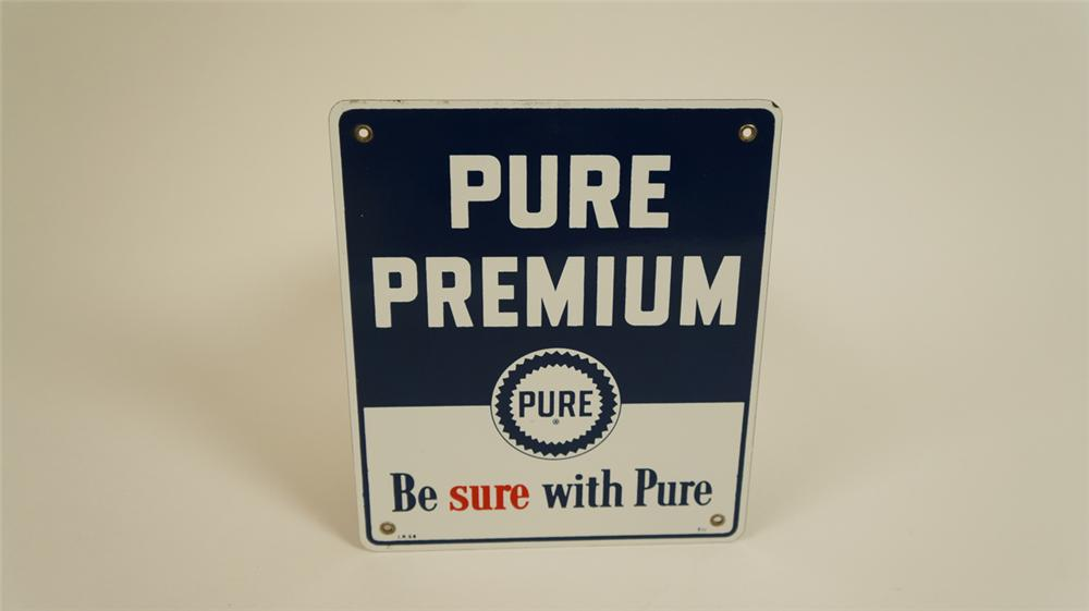 "1958 N.O.S. Pure Oil ""Pure Premium"" gasoline single-sided porcelain pump plate sign with logo. - Front 3/4 - 177732"