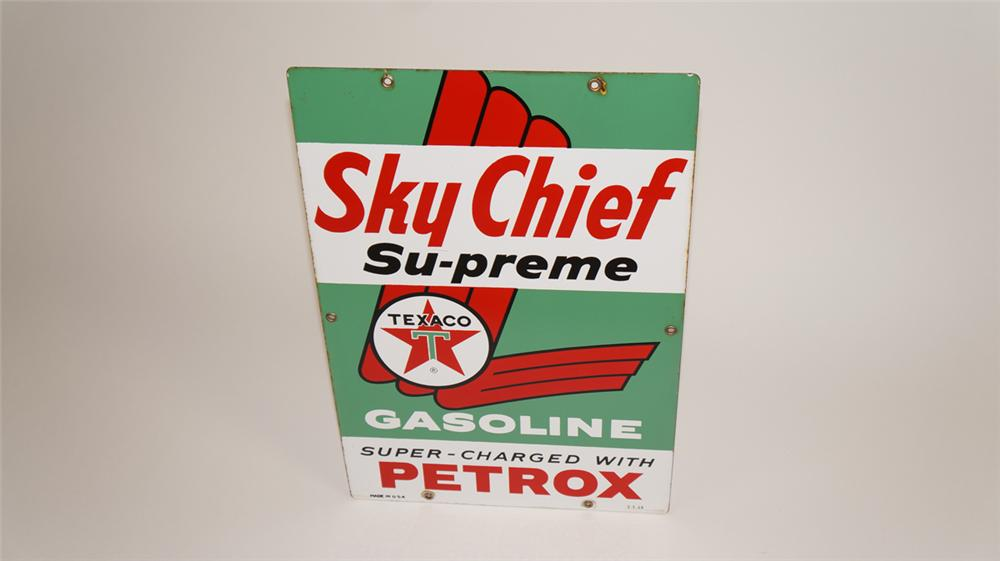 Wonderful 1963 Texaco Sky Chief Supreme Gasoline single-sided porcelain pump plate sign. - Front 3/4 - 177735