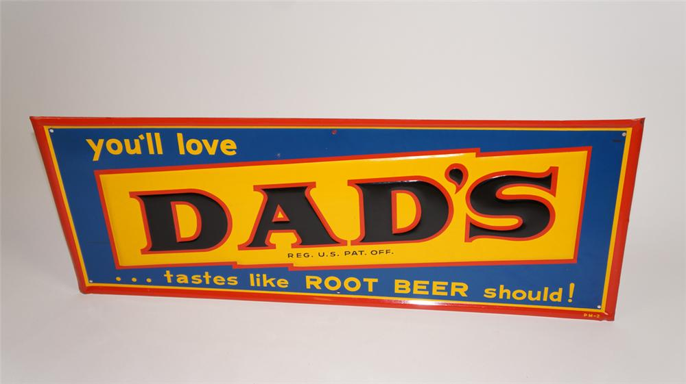 Immaculate N.O.S. 1950's Dad's Root Beer single-sided horizontal tin sign - Front 3/4 - 177741