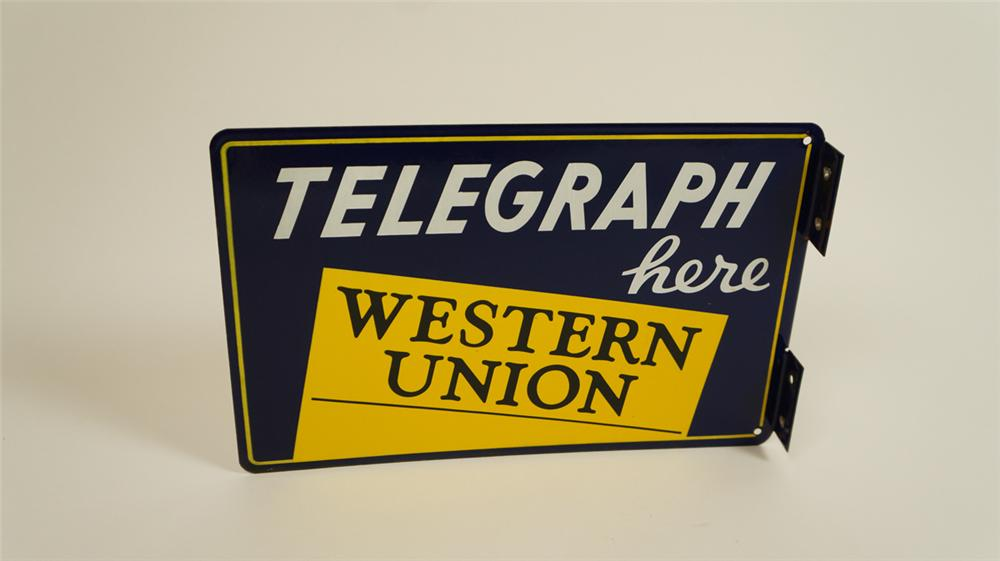 "Museum quality 1930's Western Union ""Telegraph Here"" double-sided porcelain flange sign. - Front 3/4 - 177745"