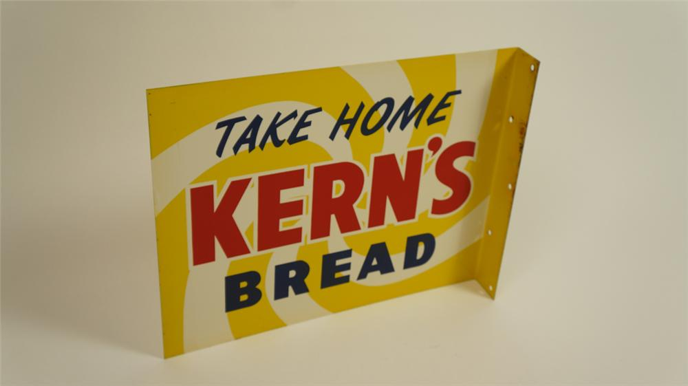 N.O.S. late 1950's Kern's Bread double-sided tin general store flange sign. - Front 3/4 - 177746