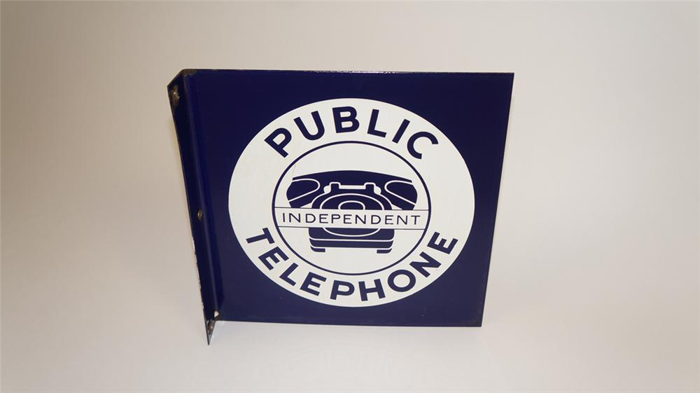 Very uncommon 1950's Independent Public Telephone sign with phone graphic. - Front 3/4 - 177747