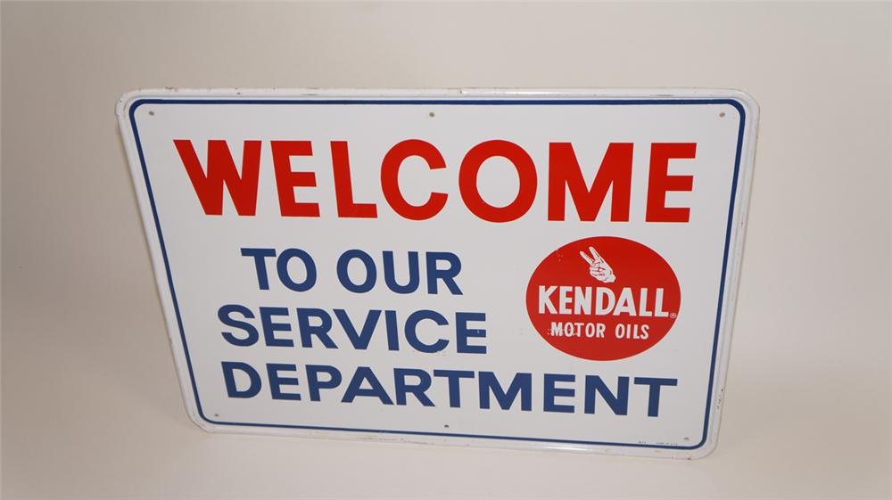 """N.O.S. 1960's Kendall """"Welcome to Our Service Department"""" tin sign with logo. - Front 3/4 - 177752"""