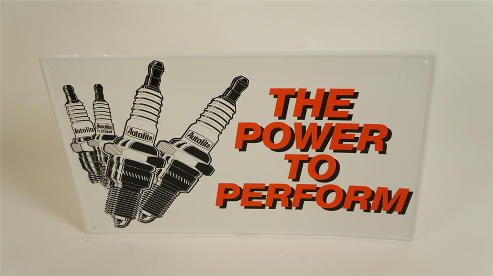 """N.O.S. 1970's Ford Autolite """"The Power to Perform"""" single-sided tin automotive garage sign - Front 3/4 - 177758"""
