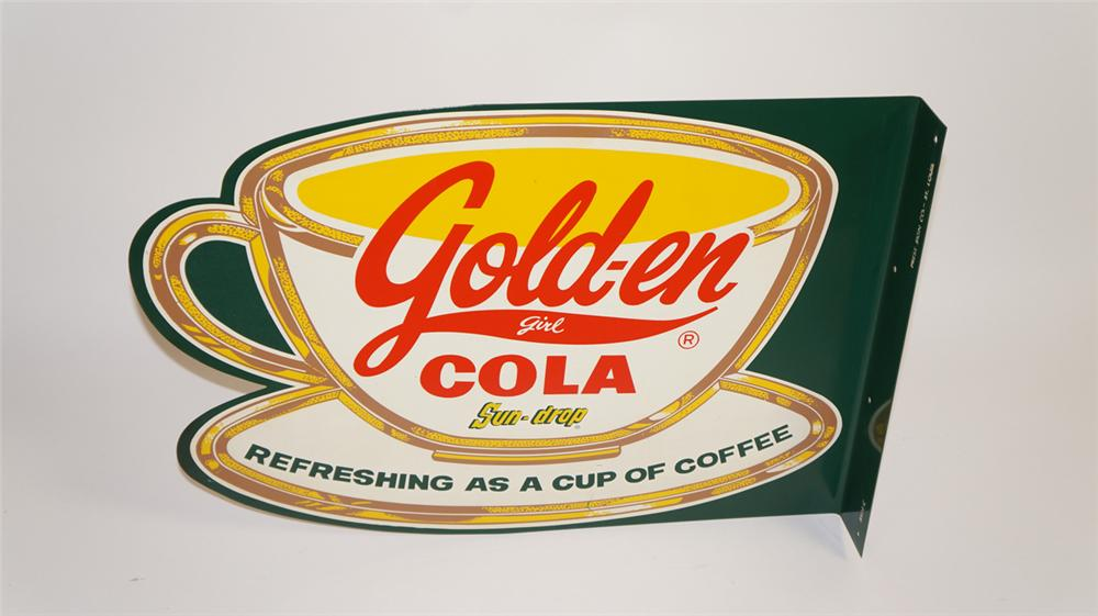 Highly desirable 1950's Sun-Drop Golden Girl Cola die-cut coffee cup shaped tin flange sign. - Front 3/4 - 177760