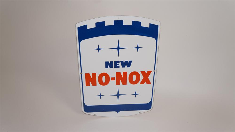 "1960's Gulf ""New No-Nox"" Gasoline single-sided porcelain pump plate sign. - Front 3/4 - 177764"