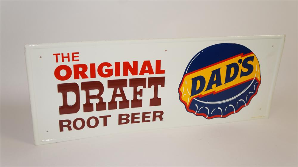 "N.O.S. 1960's Dads ""Original Draft Root Beer"" single-sided embossed tin sign - Front 3/4 - 177766"