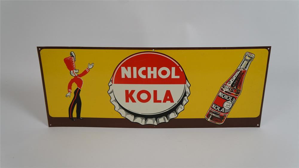 Nifty 1940's Nichol Kola single-sided tin sign with Majorette and bottle graphics. - Front 3/4 - 177768