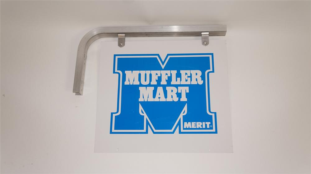 Circa 1970's Muffler Mart double-sided tin automotive garage sign with original hanger. - Front 3/4 - 177771