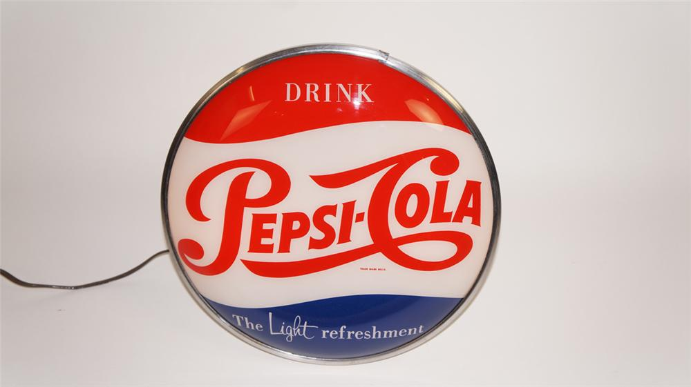 "Scarce 1950's Drink Pepsi-Cola ""The Light Refreshment"" single-sided glass faced light-up diner sign - Front 3/4 - 177773"