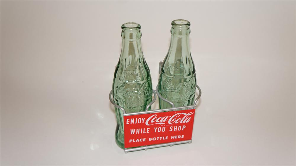 Extremely uncommon 1950's Coca-Cola shopping cart bottle holder complete with two period hobble skirt bottles. - Front 3/4 - 177777