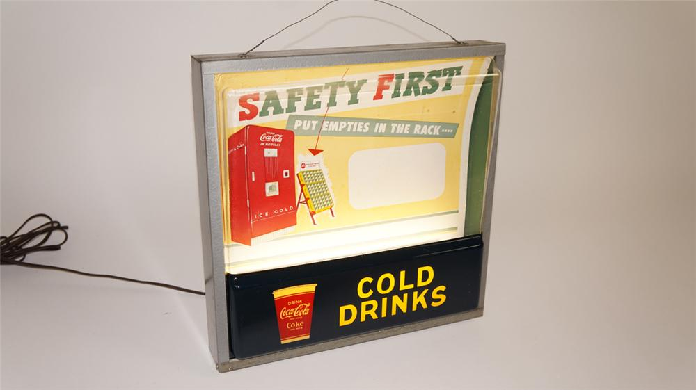 "Amazing circa early 1950's Coca-Cola ""Cold Drinks"" light-up sign - Front 3/4 - 177780"