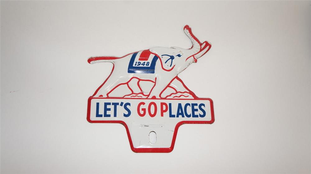 """Scarce 1948 GOP """"Let's Go Places"""" die-cut tin elephant shaped license plate attachment sign. - Front 3/4 - 177783"""