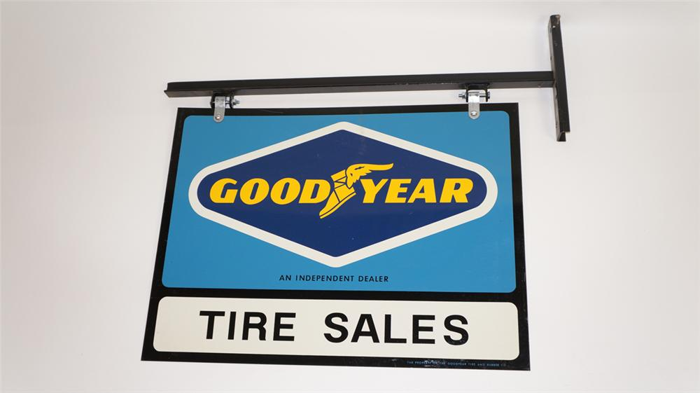 N.O.S. Goodyear Tires double-sided tin dealership sign with original hanging bracket. - Front 3/4 - 177798