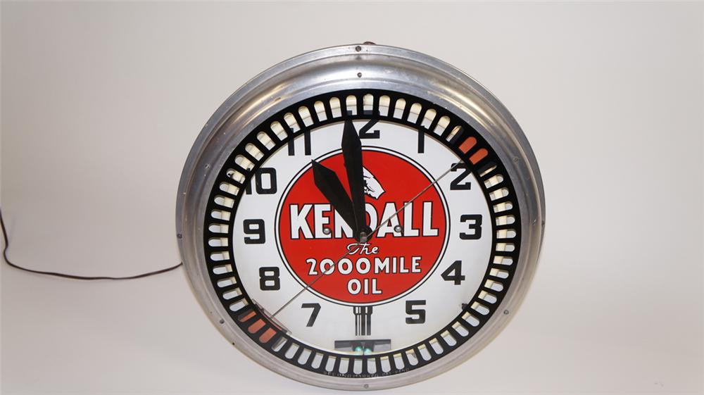 """Gorgeous 1930's Kendall """"The 2000 Mile Oil""""  neon service station clock with animation wheel. - Front 3/4 - 177799"""