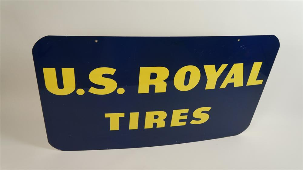 Large N.O.S. 1958 U.S. Royal Tires double-sided tin automotive garage sign. - Front 3/4 - 177803