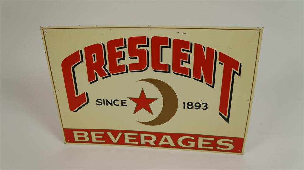 N.O.S. 1953 Crescent Beverages soda single-sided embossed tin sign. - Front 3/4 - 177804