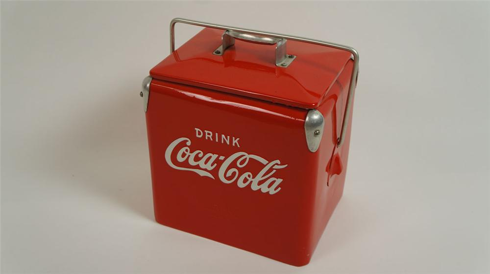 Nicely restored 1950's Coca-Cola six pack picnic cooler. - Front 3/4 - 177808