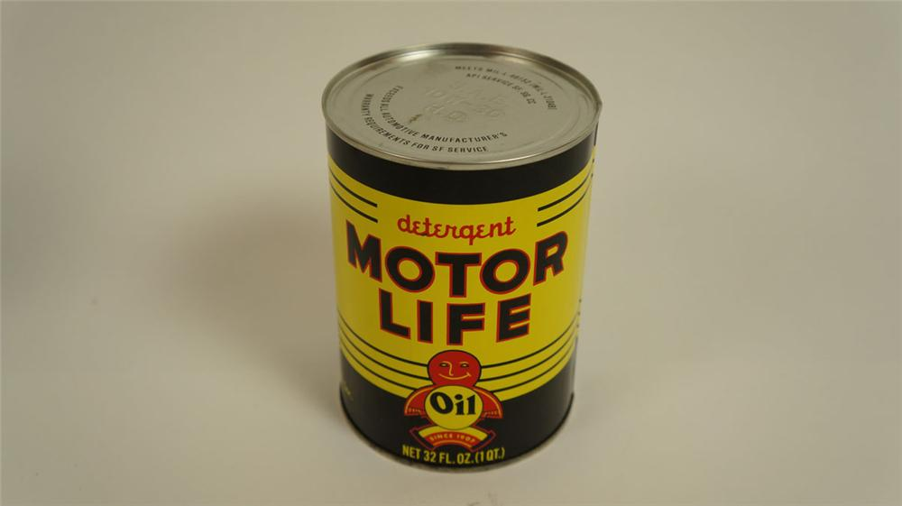 Very clean 1950's Famous Lubricants Motor Life Detergent Oil metal one quart can. - Front 3/4 - 177810