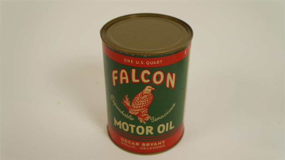 Sharp 1940's Falcon Motor Oil one quart metal can with nice graphics. - Front 3/4 - 177811