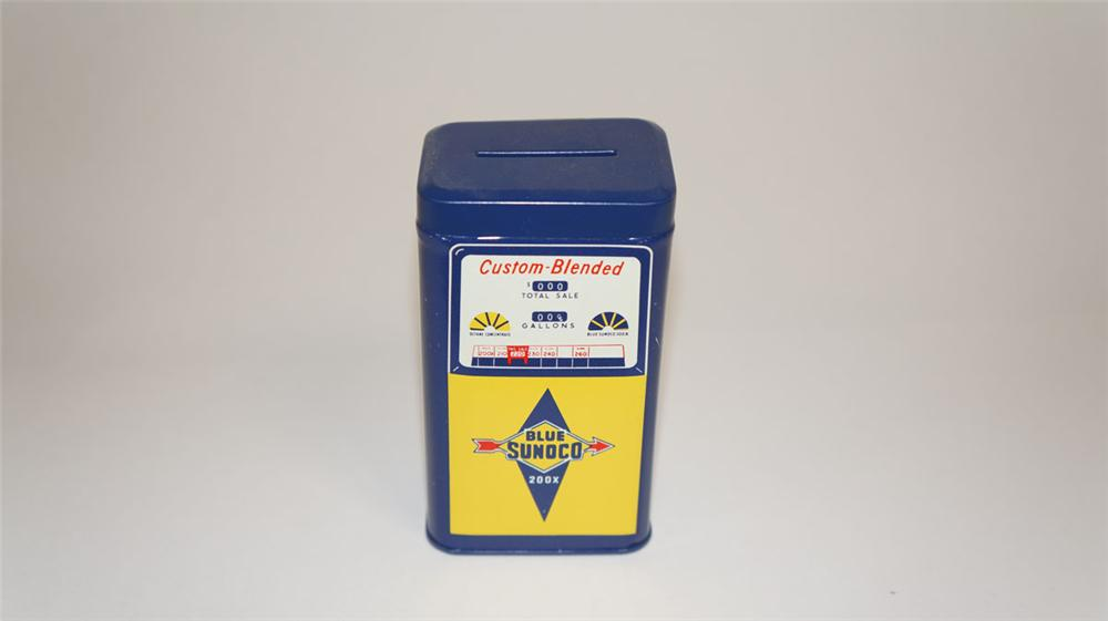 Adorable 1960's Sunoco Custom Blended promotional gas pump shaped tin coin bank. - Front 3/4 - 177812