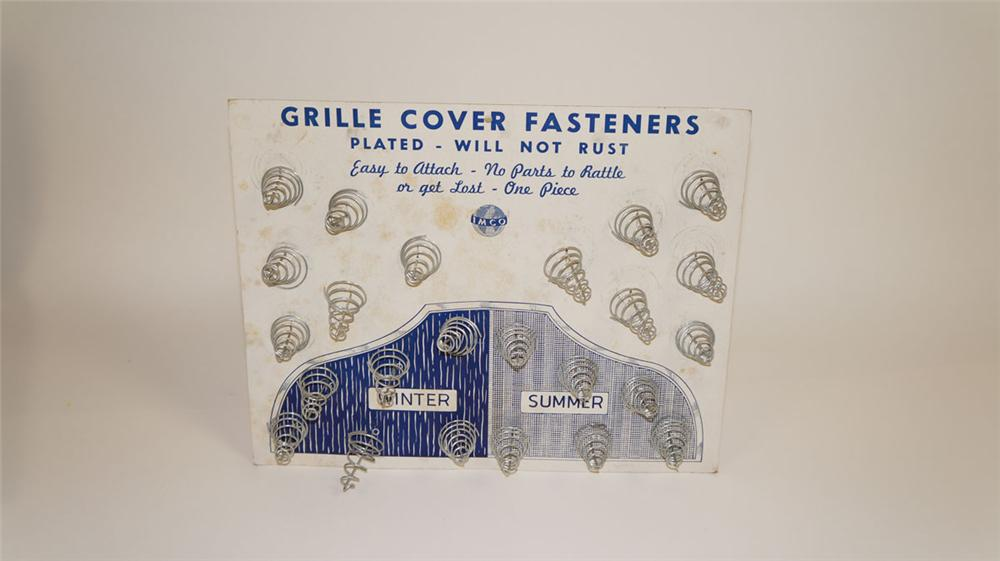 Unusual 1930's Imco Grill Cover Fasteners automotive garage easel-back counter top display - Front 3/4 - 177816