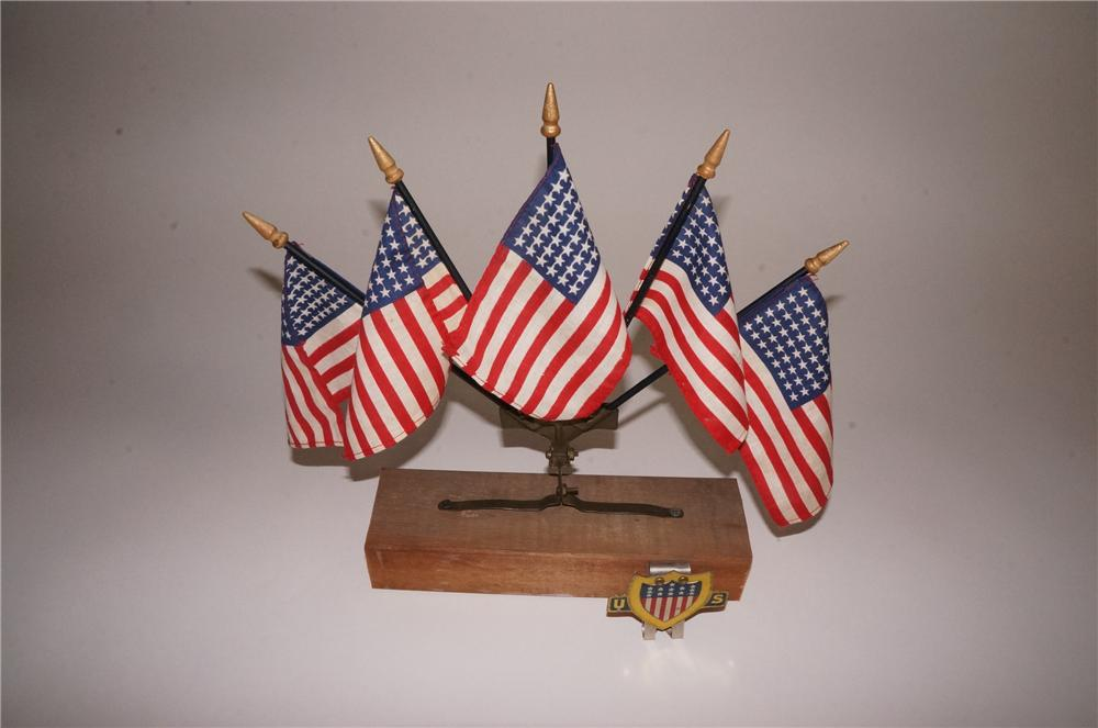 Choice circa late 1920's-30's U.S. Flag radiator grill/ license plate attachment display with visor attachment sign. - Front 3/4 - 177817