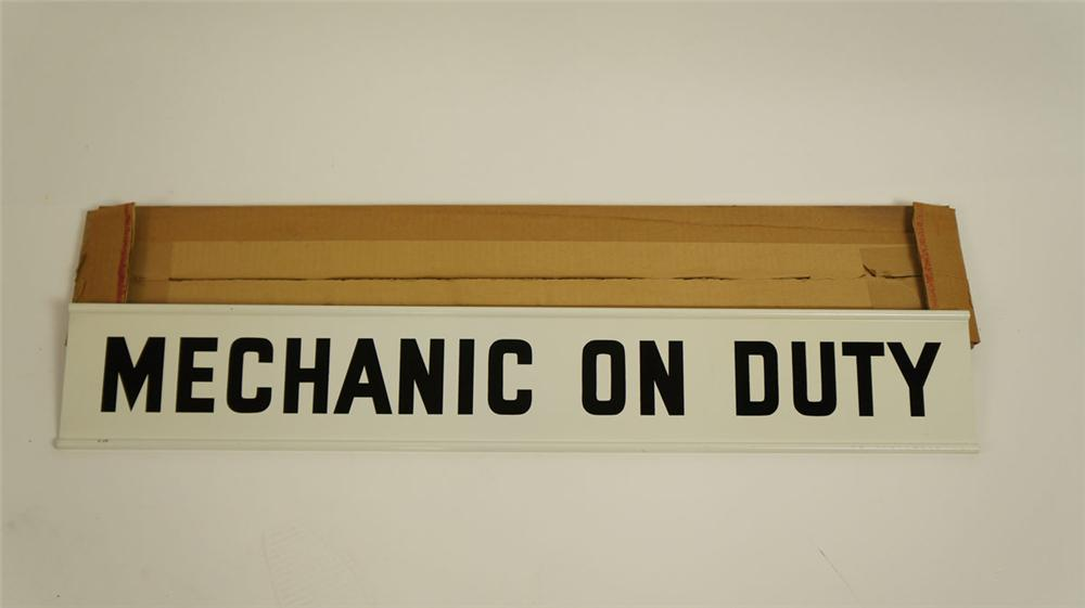 """N.O.S. late 1950's-60's Champion Spark Plugs """"Mechanic on Duty"""" double-sided tin garage sign - Front 3/4 - 177819"""