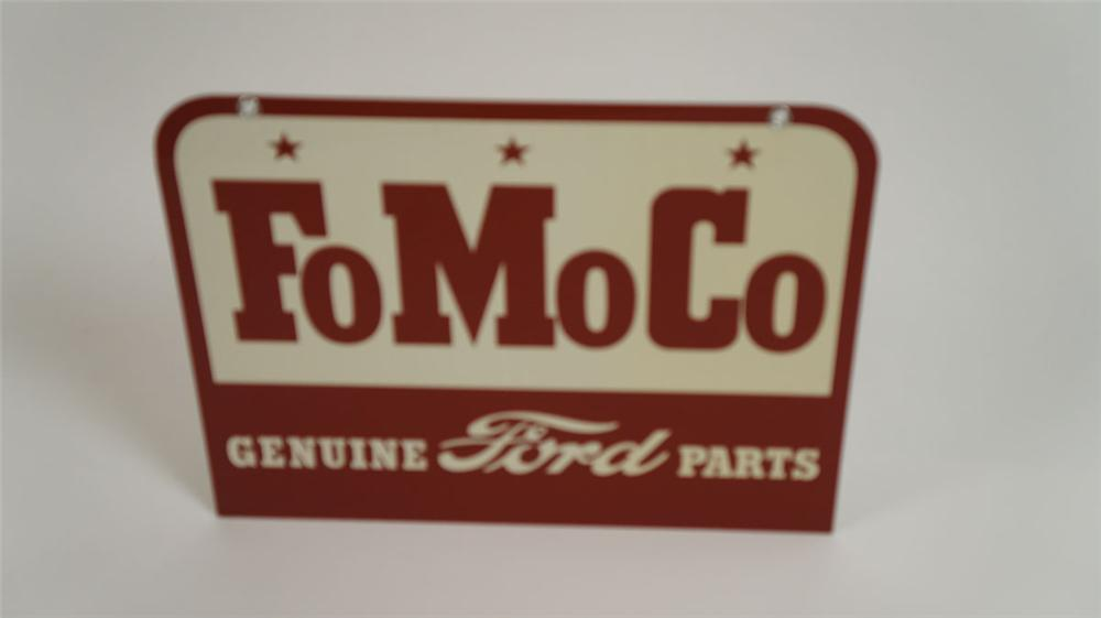 N.O.S. late 1950's Ford FoMoCo Genuine Parts double-sided tin dealership sign. - Front 3/4 - 177825