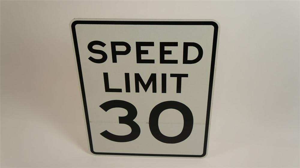 Large Speed Limit 30 metal highway road sign found unused. - Front 3/4 - 177827