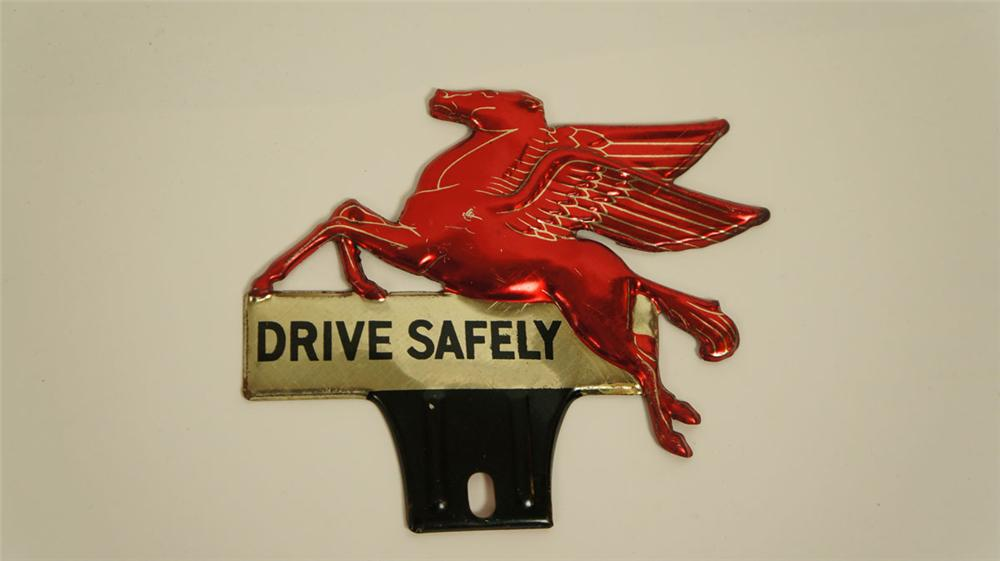 "N.O.S. 1930's-40's Mobil Oil ""Drive Safely"" Pegasus license plate attachment sign. - Front 3/4 - 177830"