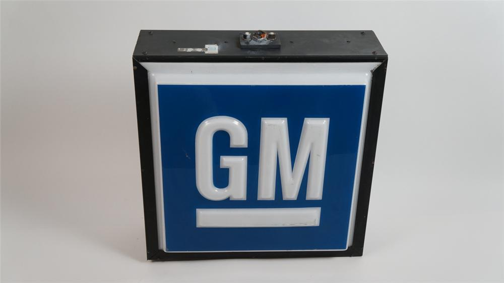 1960's-70's GM double-sided light-up dealership sign.  Lights and works well. - Front 3/4 - 177835