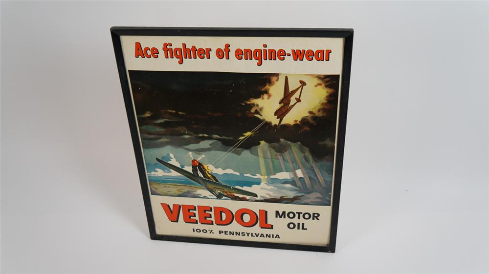Wonderful circa 1940's Veedol Motor Oil World War II era service station display cardboard sign. - Front 3/4 - 177838