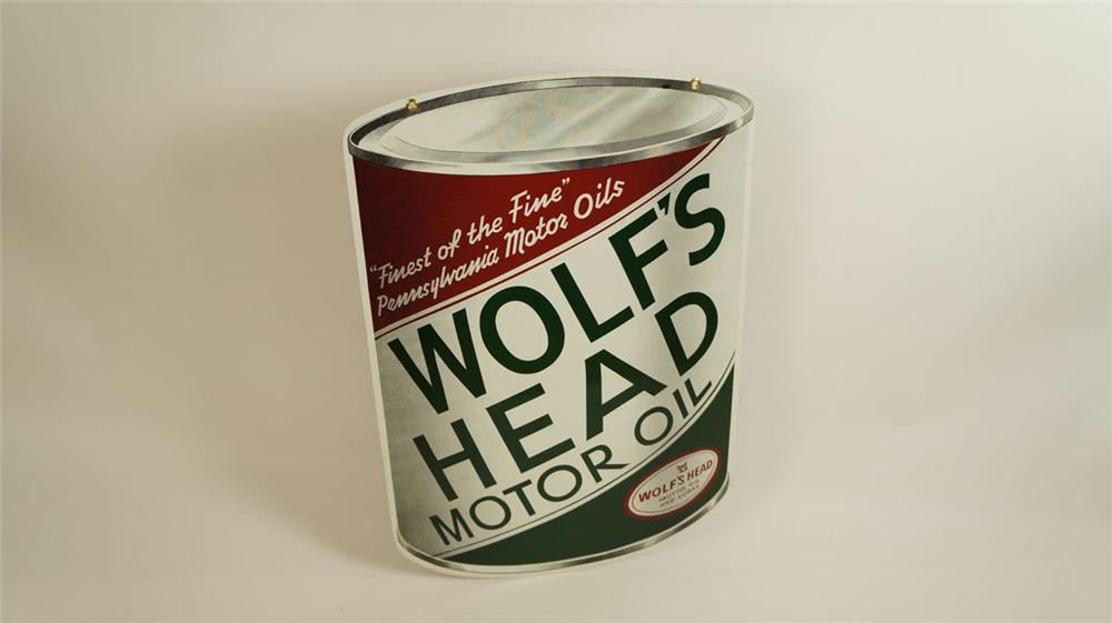Striking N.O.S. 1950's Wolf's Head Motor Oil double-sided die-cut can shaped tin sign - Front 3/4 - 177840