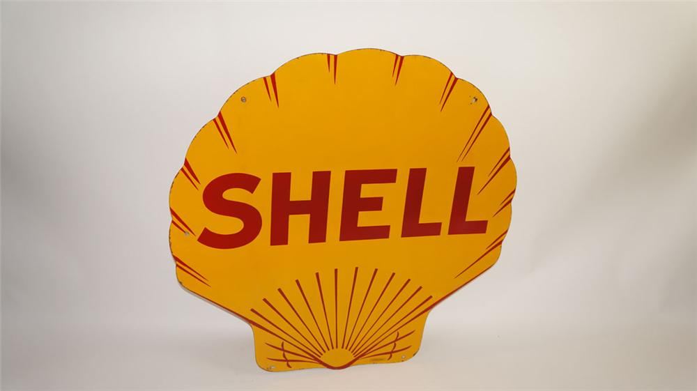 Outstanding 1929 Shell Oil double-sided porcelain clam shell shaped service station sign. - Front 3/4 - 177841