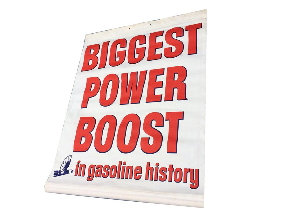 "N.O.S. 1950's Richfield Oil ""Biggest Power Boost in gasoline history"" service station canvas banner. - Front 3/4 - 177842"