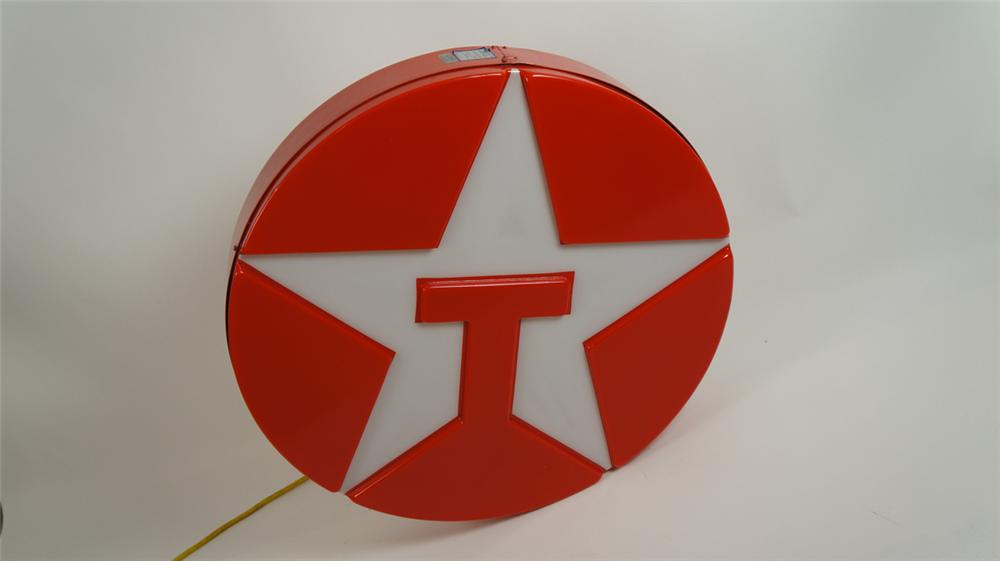 Very nice Texaco Oil single-sided light-up service station sign with embossed logo. - Front 3/4 - 177844
