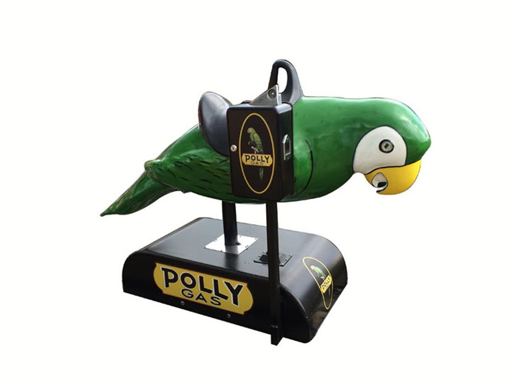 "Never before seen and nicely restored 1960's Polly Gas coin-operated ""Polly the Parrot"" coin-operated kiddy ride. - Front 3/4 - 177848"