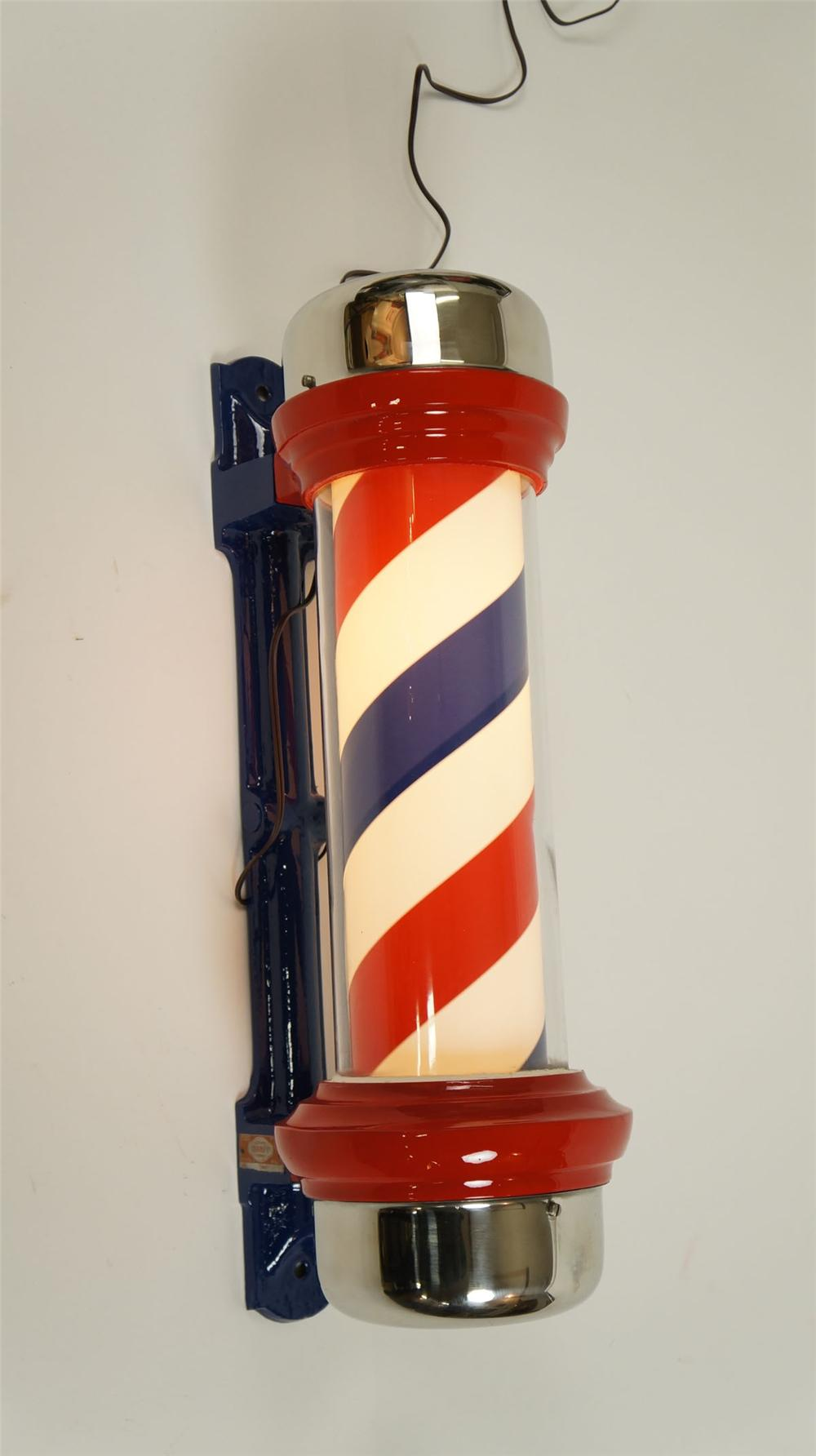 Wonderfully restored circa 1940's light-up spinning barber pole by Marvy. - Front 3/4 - 177851