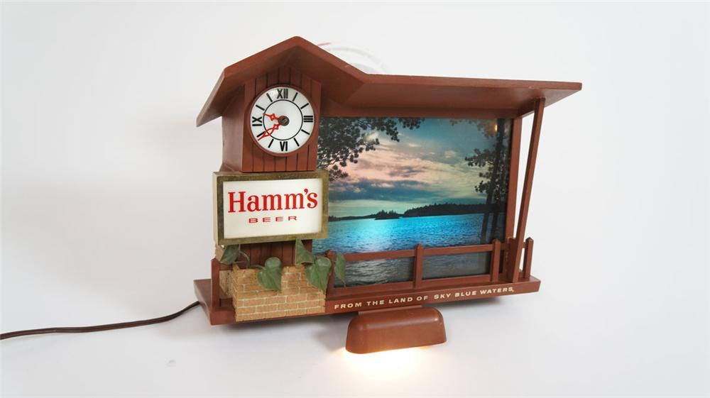 """Hamm's Beer """"Stormy Skies"""" light-up tavern sign with cash register/bar back light attached. - Front 3/4 - 177856"""