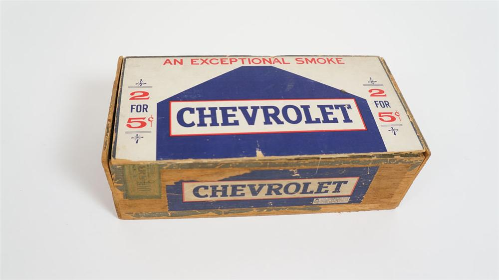 Unusual 1930's Chevrolet Cigars wooden cigar box with all original graphics! - Front 3/4 - 177861
