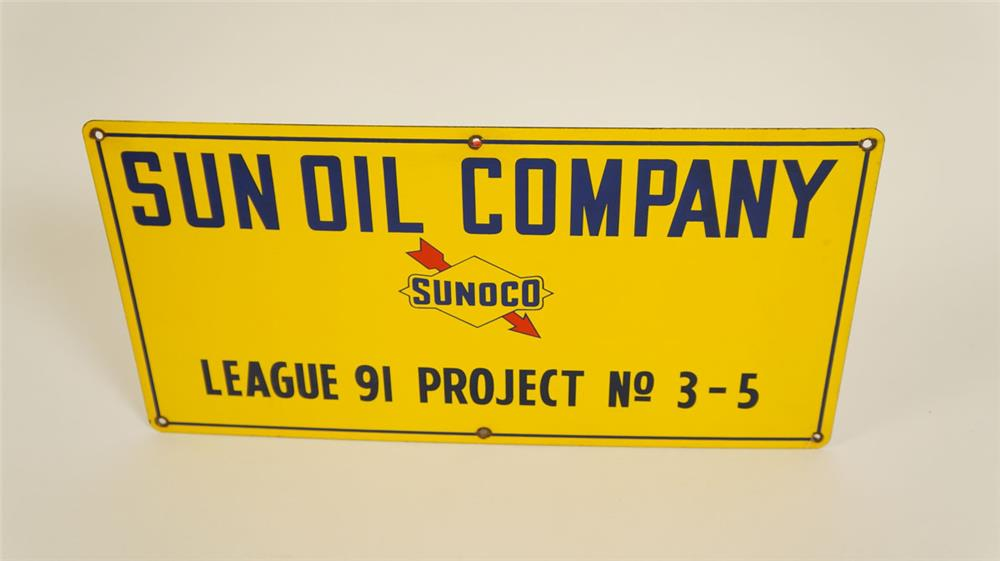 N.O.S. Sun Oil Company porcelain oil well sign with Sunoco logo. - Front 3/4 - 177865