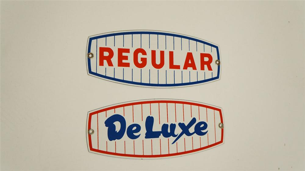"Pair of 1950's porcelain pump plate sign s for ""Regular"" and ""Deluxe"" fuel grades. - Front 3/4 - 177866"