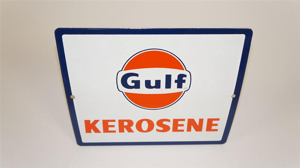 Hard to find N.O.S. 1950's Gulf Kerosene porcelain pump plate sign with Gulf logo. - Front 3/4 - 177869