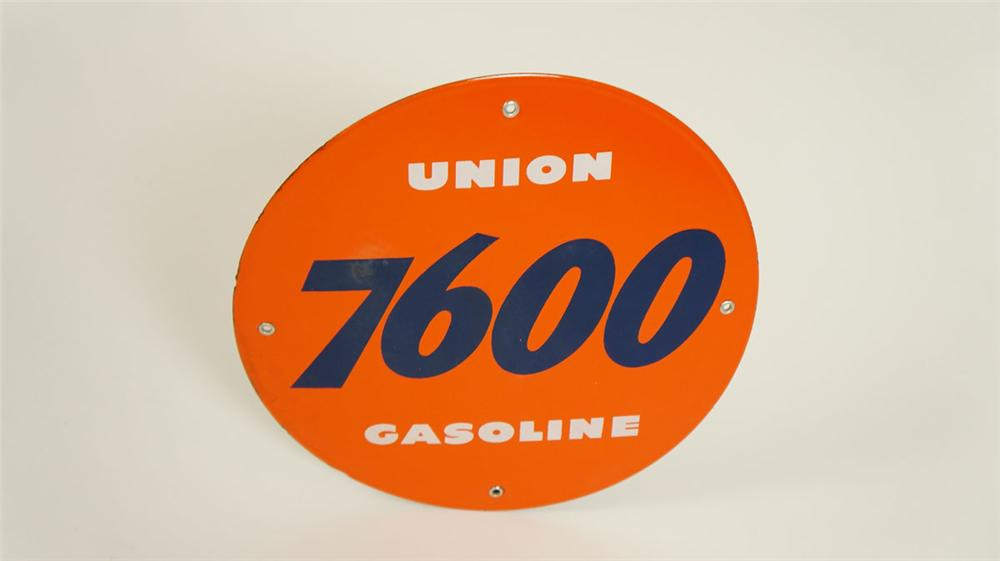 N.O.S. late 1950's Union 7600 Gasoline porcelain pump plate sign. - Front 3/4 - 177872