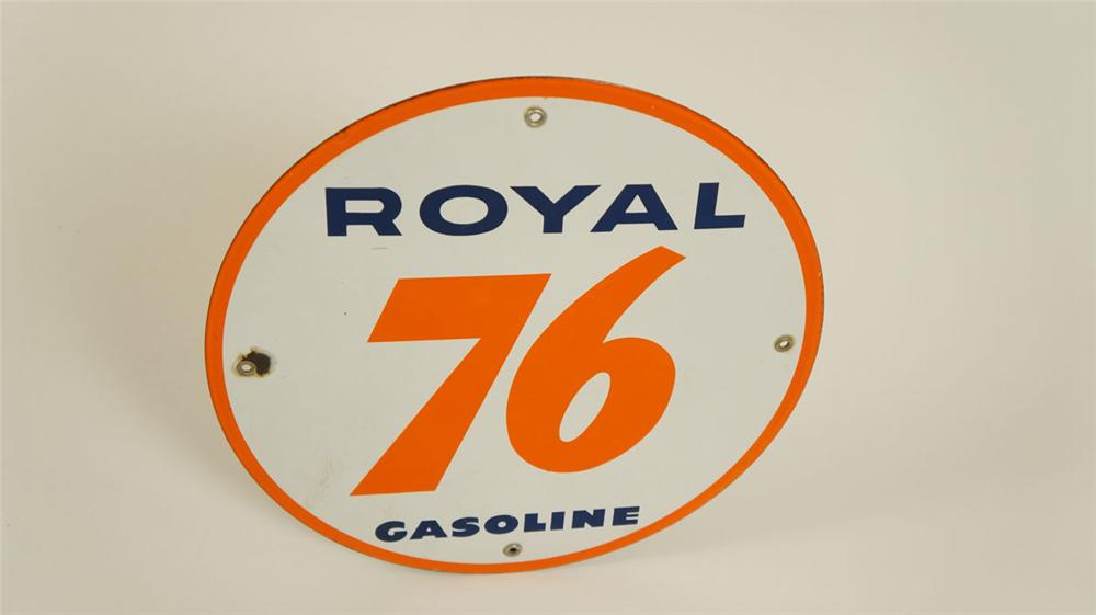 Sharp N.O.S. late 1950s Union 76 Royal Gasoline single-sided porcelain pump plate sign. - Front 3/4 - 177873
