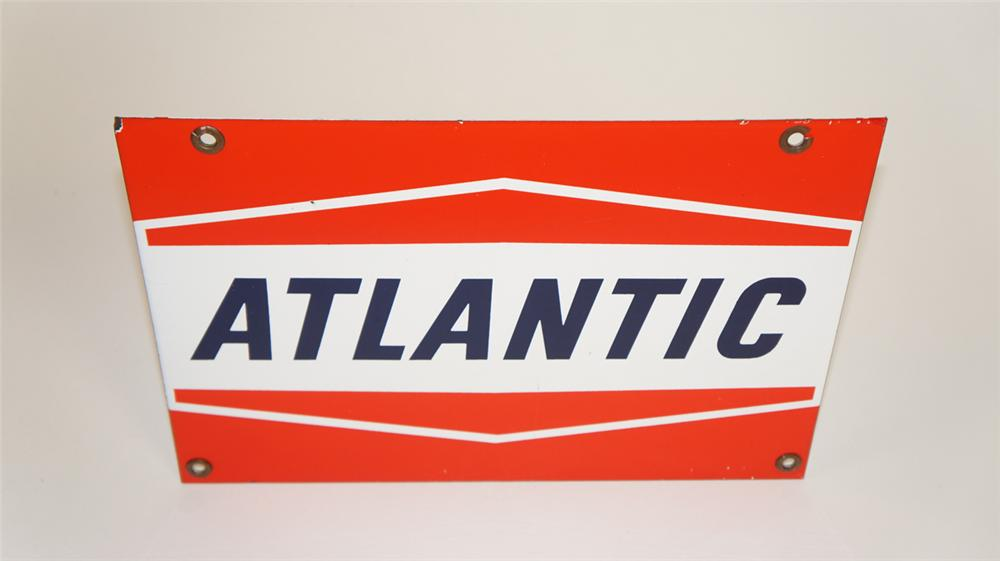 Late 1950's-early 60's Atlantic Gasoline single-sided porcelain pump plate sign. - Front 3/4 - 177874