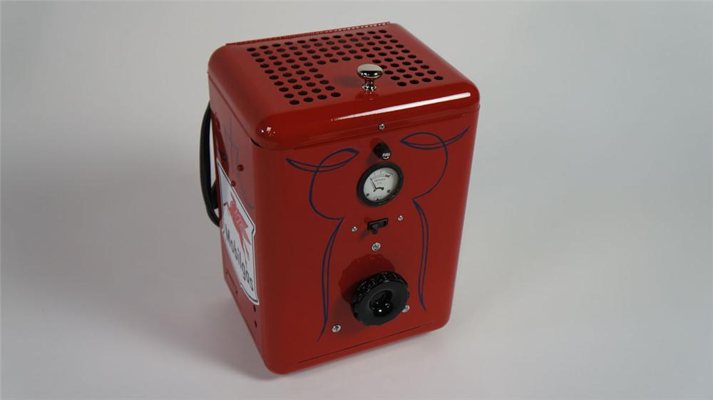 Interesting 1950's Mobil Oil service department aesthetically restored counter-top battery charger. - Front 3/4 - 177887